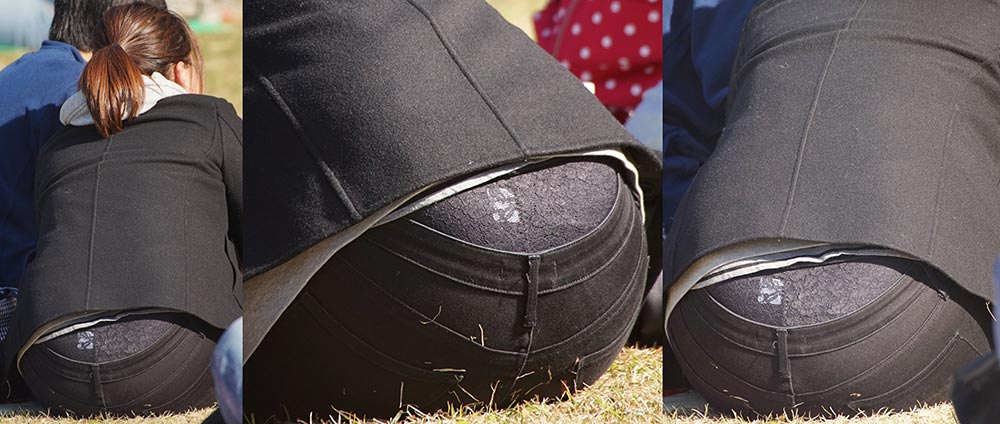 1418196145.98 若ママさんはパンツの腰からレースたっぷりの黒いガードルショーツをガッツリと覗かせてくれる!!
